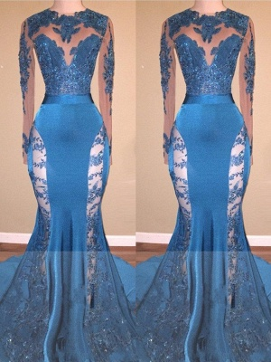 Blue Long Mermaid Lace Prom Dresses | Long Sleeves Hollow Back Evening Gowns_2
