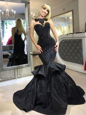 Amazing Black Mermaid Prom Dresses   Sleeveless Beaded Evening Gowns_2