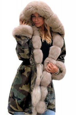 Camo Military Parka Coat with Premium Burgundy Fur Trim_12