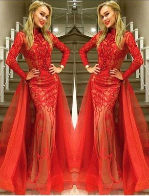 Sexy Red Long Sleeve Evening Dress 2019 Tulle Mermaid Lace_2