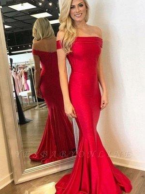 Elegant Mermaid Evening Dresses | Off-The-Shoulder Prom Dresses Sweep Train_2