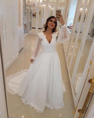 Fashion Long Sleeves Beading  A-Line Flower Wedding Dress_3