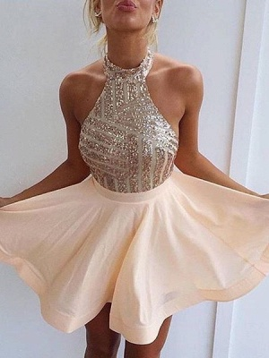 2019 Champagne Sequins Homecoming Dresses Halter Neck Backless Graduation Dresses_2