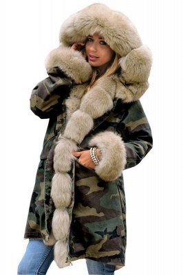 Camo Military Parka Coat with Premium Burgundy Fur Trim_2