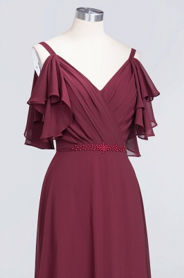 A-Line V-Neck Straps Sleeveless Ruffles Floor-Length  Bridesmaid Dress with Pearls_5