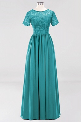 A-line  Lace Jewel Short-Sleeves Floor-length Bridesmaid Dress_31