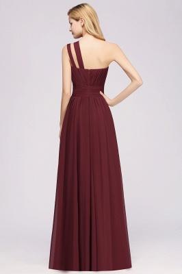 Elegant A-Line Burgundy One-Shoulder Sleeveless Ruffles Floor-Length  Bridesmaid Dresses_2