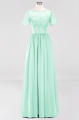 A-line  Lace Jewel Short-Sleeves Floor-length Bridesmaid Dress_34