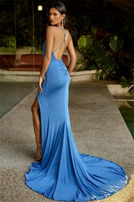 Fashion Spaghetti Straps Sleeveless Front Slipt Sheath Prom Dress_2