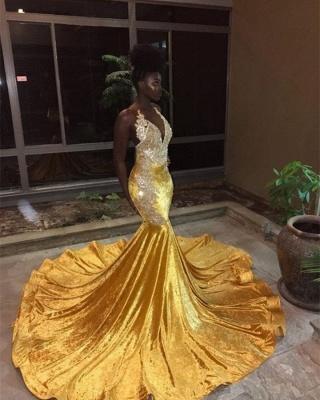 Gorgeous V-Neck Sleeveless Mermaid Appliques Yellow Prom Dress_1