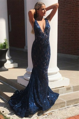 Glamorous Straps Deep V-Neck Sleeveless Mermaid Prom Dress_2