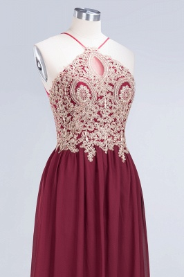 A-Line Spaghetti-Straps Sleeveless Backless Floor-Length  Bridesmaid Dress with Appliques_5