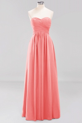 A-line  Sweetheart Strapless Ruffles Floor-length Bridesmaid Dress_7