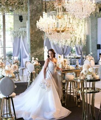 Glamorous Spaghetti Straps Sleeveless Sexy Mermaid Lace Appliques Wedding Dress_4