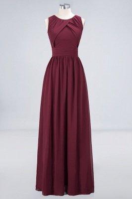 A-Line Round-Neck Sleeveless Floor-Length  Bridesmaid Dress with Ruffles_1