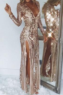 Sexy Deep V-Neck Long Sleeves Front Slipt Sheath Prom Dress_1