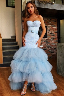 Stunning Strapless Sleeveless  High Low Prom Dress_1