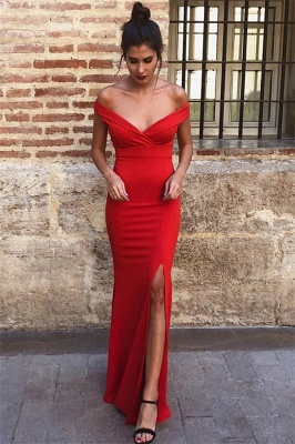 Charming Off-the-Shoulder Front Slipt Sleeveless Mermaid Prom Dress_1