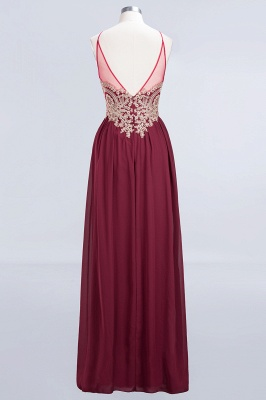 A-Line Spaghetti-Straps Sleeveless Backless Floor-Length  Bridesmaid Dress with Appliques_2