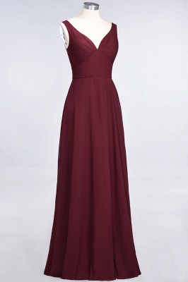 A-Line V-Neck Straps Sleeveless Ruffles Floor-Length  Bridesmaid Dress with Open Back_4