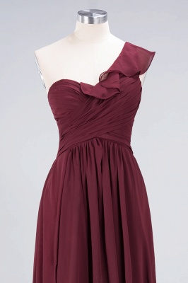A-Line One-Shoulder Sweetheart Sleeveless Floor-Length  Bridesmaid Dress with Ruffles_4