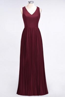 A-Line V-Neck Sleeveless Floor-Length Satin Bridesmaid Dress with Ruffles_1