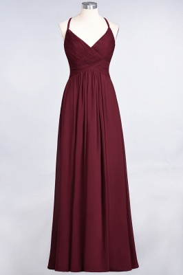 A-Line Spaghetti-Straps V-Neck Sleeveless Floor-Length  Bridesmaid Dress with Ruffles_35