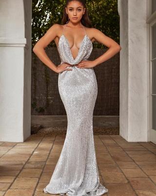 Sexy V-Neck Halter Backless Sleeveless Mermaid Prom Dress_1