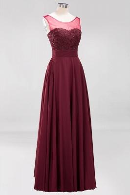 A-Line   Lace Beadings Jewel Sleeveless Floor-Length Bridesmaid Dresses with Sash_3