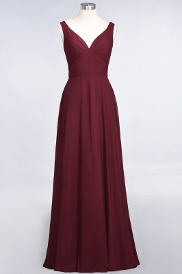 A-Line V-Neck Straps Sleeveless Ruffles Floor-Length  Bridesmaid Dress with Open Back_2