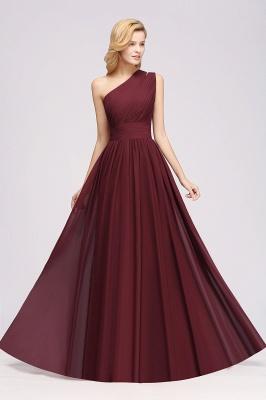Elegant A-Line Burgundy One-Shoulder Sleeveless Ruffles Floor-Length  Bridesmaid Dresses_4