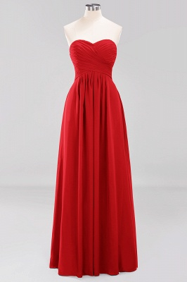 A-line  Sweetheart Strapless Ruffles Floor-length Bridesmaid Dress_8