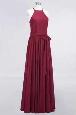 Chiffon A-Line Burgundy Simple Cheap Bridesmaid Dress_5
