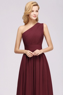 Elegant A-Line Burgundy One-Shoulder Sleeveless Ruffles Floor-Length  Bridesmaid Dresses_6