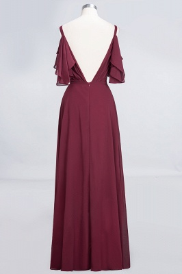 A-Line V-Neck Straps Sleeveless Ruffles Floor-Length  Bridesmaid Dress with Pearls_2