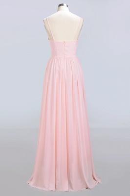 Pink Chiffon Simple Floor-length Sleeveless A-line Spaghetti-Strap Zipper Bridesmaid Dress_9