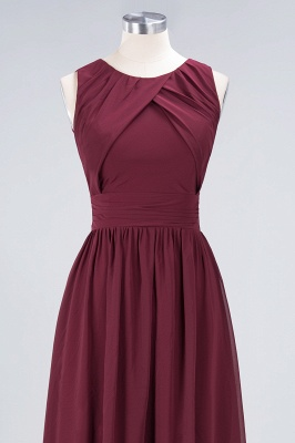A-Line Round-Neck Sleeveless Floor-Length  Bridesmaid Dress with Ruffles_4