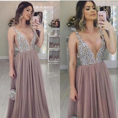 Charming V-Neck Straps Sleeveless A-Line  Prom Dress_1