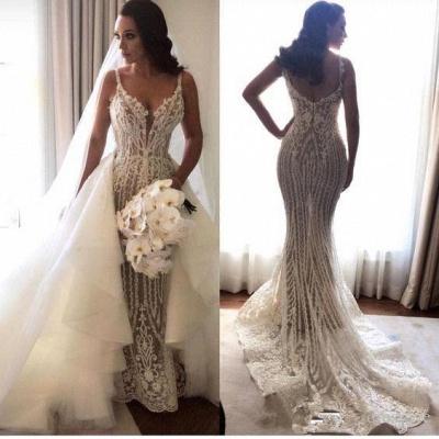 Glamorous Spaghetti Straps Sleeveless Sexy Mermaid Lace Appliques Wedding Dress_1