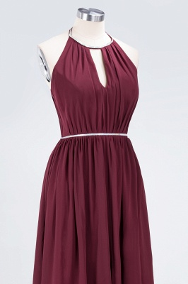 A-line Halter Sleeveless Floor-Length  Bridesmaid Dress with Beading Sash_5