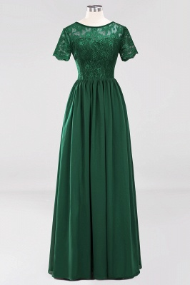 A-line  Lace Jewel Short-Sleeves Floor-length Bridesmaid Dress_30