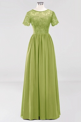 A-line  Lace Jewel Short-Sleeves Floor-length Bridesmaid Dress_32