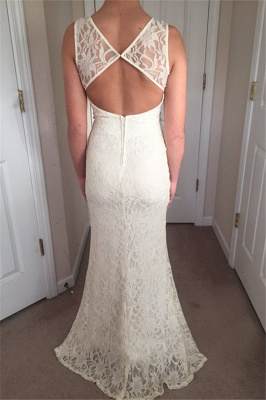 Stunning Straps Sleeveless Round Neck Front Slipt Prom Dress_3