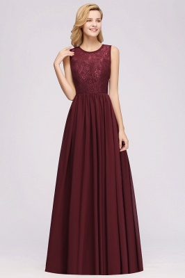 A-Line Chiffon Lace Bridesmaid Dresses | Scoop Sleeveless Wedding Party Dresses_1