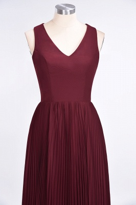 A-Line V-Neck Sleeveless Floor-Length Satin Bridesmaid Dress with Ruffles_4