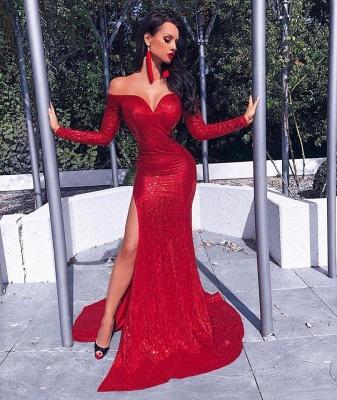 Charming Long Sleeves Sheath Front Split Prom Dress_1