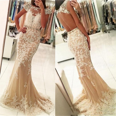 Fashion Appliques Round Neck Cap Sleeves Mermaid Prom Dress BA4294_3