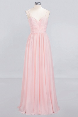 Pink Chiffon Simple Floor-length Sleeveless A-line Spaghetti-Strap Zipper Bridesmaid Dress_8