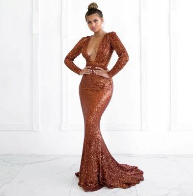 Sexy Deep V-Neck Long Sleeves Mermaid Prom Dress_1