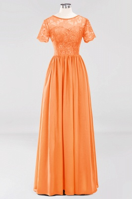 A-line  Lace Jewel Short-Sleeves Floor-length Bridesmaid Dress_15
